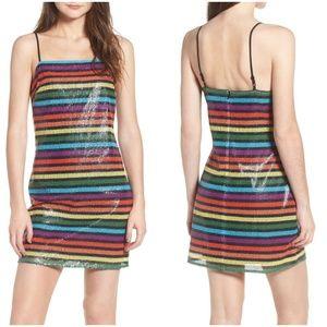 WAYF Lille Rainbow Stripe Sequin Minidress sz Med